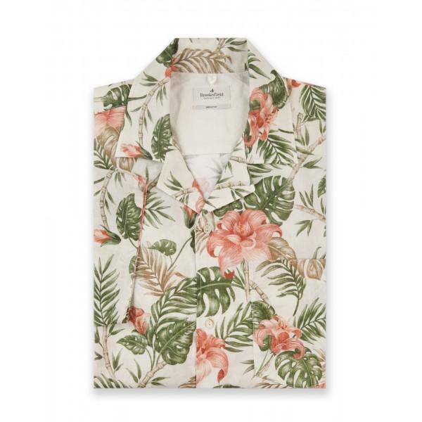 Camicia Manica Corta, Camp Collar, Stampata